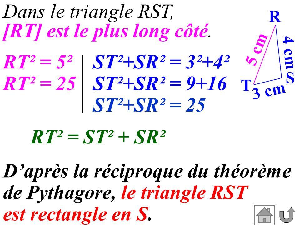 Dans le triangle RST, [RT] est le plus long côté.